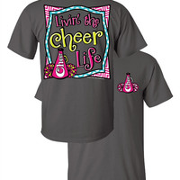Southern Couture Livin the Cheer Life Sports Cheerleader Chevron Faux Pocket Girlie Bright T Shirt