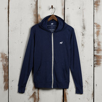 Embroidery Mens Lightweight Hoodie, Navy - 50% Off