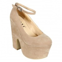 Gayle Nude Suede Ankle Strap Platform Demi Wedges | Shelikes
