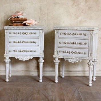 One of a Kind Vintage Nightstand Carved White Wash Set of 2