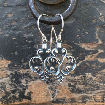 Filigree Chandelier, Antiqued Sterling Silver Earrings, Vintage Style Dangle Earrings by Two Silver Sisters