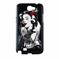 Marilyn Monroe Tattooed Flower With Pistol Gun Samsung Galaxy Note 2 Case