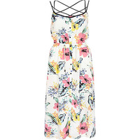 River Island Womens White floral print strappy cami midi dress