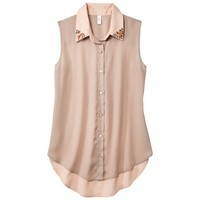 Xhilaration® Juniors Sleeveless Button Down Top - Assorted Colors