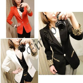 DCCKIX3 Candy Color Casual Blazer Suits Leopard Turn Back Cuff Lapel Blazer Jacket 7071