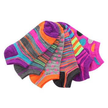 Shaded Contrast Low Cut Socks (6 Pack Special)