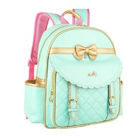 CrazyPomelo Golden Bowknot Princess PU Backpack for Primary School Girls Blue - S