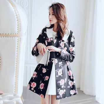 2017 spring printing trench new Korean version Wind thin women's  coat fashion windbreaker dress