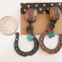 Cowgirl Earrings, Rodeo Ready, Horseshoes, Turquoise magnesite, turquoise cross, big statement earrings, cowgirl jewelry