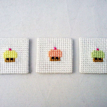 Cross stitch magnets set of three cupcakes by mohustore on Etsy