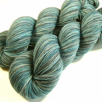 REDUCED - Hand Dyed Yarn - Sock Weight Superwash Merino Wool Yarn - Storm Clouds - Knitting Yarn, Sock Yarn, Wool Yarn, Blue Grey Gray