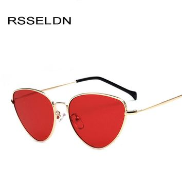 RSSELDN Fashion Red Cat Eye Sunglasses Women Clear Lens Sun Glasses For Women Cat Eye Metal Pink Yellow Female Mirror UV400