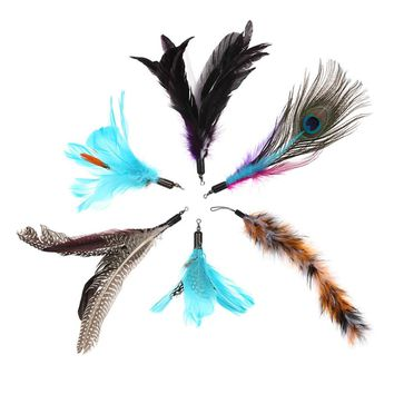 6PCS Luxury Dancer Interactive Cute Soft Furry Tail Replacement Feathers Feather Colorful Natural Feather Toy Pet Kitten Cat Teaser for Cat Rod Wand
