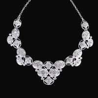 Art Deco Rhinestone Bib Necklace In Silver Tone, Bridal Jewelry