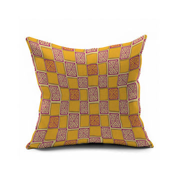 Geometric Cotton Linen Cushion Vintage Sofa Decoration Linen Cushion Cover [6451597894]