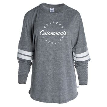 Official NCAA Western Carolina University Catamounts - RYLWCA04 Women's Tri-Blend Oversized Football Tee with Stripes