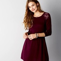 AEO Women's Lace Shoulder Sweater Dress (Burgundy)