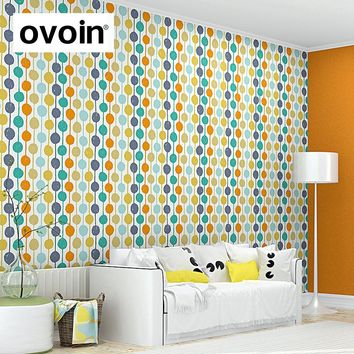 Modern Contemporary Color Circles Striped Wallpaper Creation Polka Dot Pattern Kids Wall Paper Roll For Bedroom Living Room
