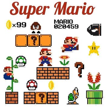Super Mario party nes switch 25 Pcs Pvc Waterproof  Cartoon Sticker For Luggage Skateboard Laptop Moto Bicycle Wall Guitar Car Toy DIY Stickers AT_80_8