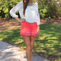Native Stitch Shorts, Coral