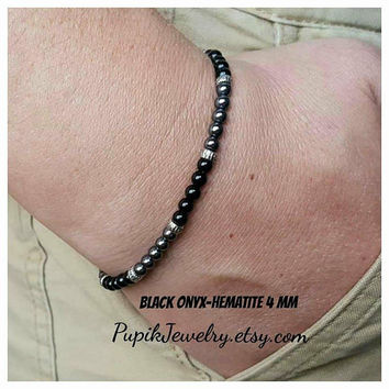 MEN'S BRACELET BlackOnyx-Hematite Bracelet Beaded Bracelet Men's Jewelry Men's 4 mm Beaded Bracelets Charm Bracelet Hematite Custom Jewelry