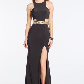 Crepe Cut Out Dress with Beaded Waistband