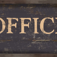 "Handmade Wood Distressed Looking Office Sign. Black.  Approx. 12""x19"" 2"" Wood plaque framed out in wood."