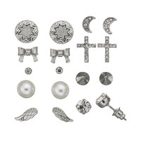 SO Spike, Bow, Cross, Wing, Moon & Flower Stud Earring Set
