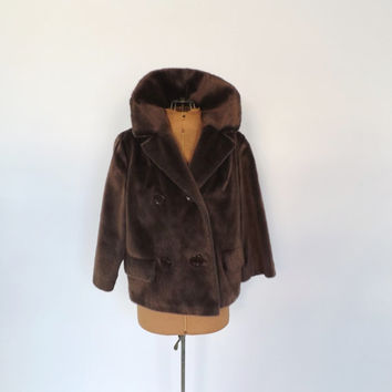 Vintage 1950s 1960s Brown Fur Coat Mad Men Brazotta Styled by Fairmoor Cropped Fur Jacket Outerwear Winter Jacket Fur Blazer Size Medium