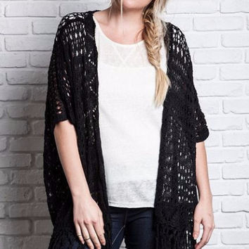 Umgee Plus Crochet Knit Fringe Kimono Sweater -Black