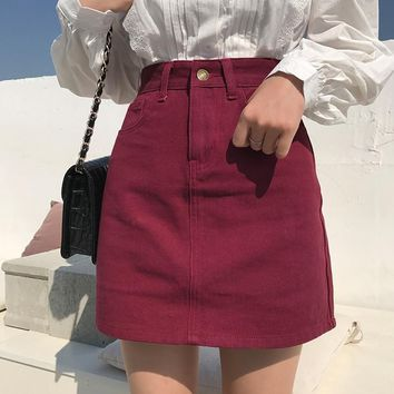 Brandy Melville Vintage Cotton Streetwear Metal Button Zipper Short Skirt