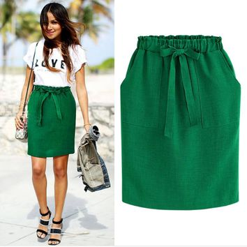 New Spring Summer Elegant Midi Skirts Womens Office Pencil Skirt Cotton Elastic Waist Package Hip Skirt Bow Skirt Green