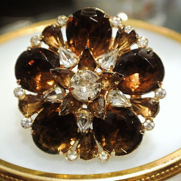 1940s Eisenberg Rhinestone Brooch Swarovski Crystals Lotus Flower Hollywood Regency High Fashion Designer Jewelry Antique Brooch Brown