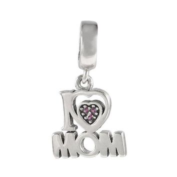 ac spbest 925 Sterling Silver i Love Mom Letter Pendant Charms fit Bracelets for DIY Fashion Jewelry Mother Gifts