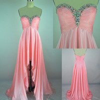 Sweetheart Pink beadings Asymmetrical Prom Dress