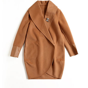 Type cocoon handmade double,sided cashmere coat coat,Double breasted coat,Caramel-type camel ,long coat,camel coat ,Tan wool coat ,R2485