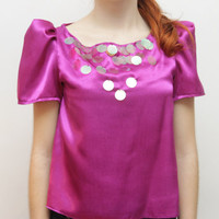 FLASH 2 - fuchsia and pink embroidered sequin top - Ready to ship