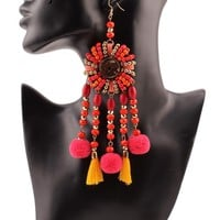 Long Ethnic Drop Earrings