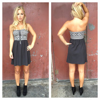 Black Aztec Bodice Strapless Dress
