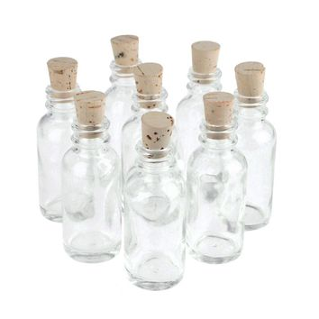 Clear Glass Boston Bottle Corked Jars, Boston, 3-Inch, 8-Piece