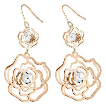Clear Crystals Drop & Dangle Flowers Fish Hook Earrings in 14K Gold Plated