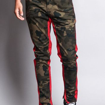 Men's Double Taped Track Style Camo Pants DL1167 - A10E