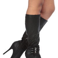 Black Faux Leather Knee High Platform Boots