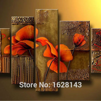 Abstract Red Flower!Thick Textured 5 Piece Canvas Art Hand made Modern Oil Painting for Living Room Decoration Wall art Dr5P78