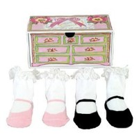Dimples Tea Party Two Pairs Mary Jane Socks, 0-12 Months