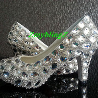 Bling Wedding Shoes, Shiny luxury Bridal Shoes Heels, Custom Wedding Bridal Shoes, 3 Closed Toe sliver diamonds swarovski Crystal heels