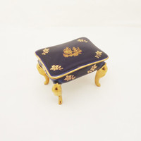 Vintage Limoges Cobalt Blue Trinket Box, Limoges Dressing Table Shaped Trinket Box, Collectable Limoges