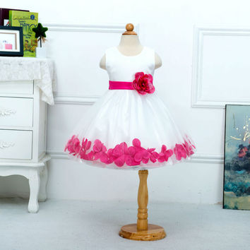 Retail Knee-Length High Quality Baby Flower Girl Dress Rose Petals Around Girl Party Dresses Princess Dress L104