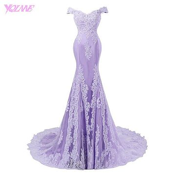 Lilac Off the Shoulder Mermaid Prom Dresses Long Evening Gown Lace Appliques Tulle Zipper Back Court Train Vestido De Festa