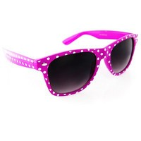 Vintage Wayfarer Style Sunglasses Dark Lenses Purple w/ Dots